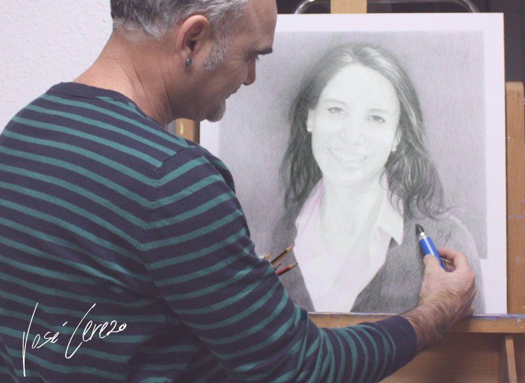 Marisa, retrato en técnica seca grafito