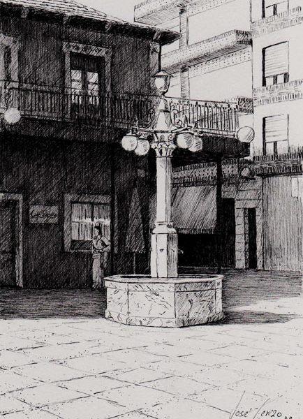 Plaza de España   Tinta con pluma   José Cerezo